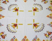 Adorable Mid Century Holland Themed Cotton Table Cloth Tulips Windmills Red Yellow Black Brown