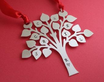 Personalized Family Tree Christmas Tree Ornament - Custom Xmas Gift - Aluminum Hand Stamped Holiday - Stocking Stuffer - 2016