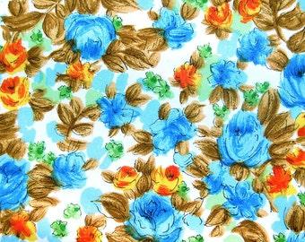 Vintage Floral Dress Fabric - Rose Print in Blues Orange Green with Brown Leaves - Vintage Yardage