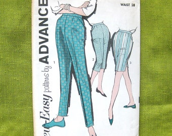 Advance 2823 Misses' Pants and Shorts 1960s Vintage Sewing Pattern Cigarette Pants Pedal Pushers / Size 16 Waist 28 / UNCUT FF