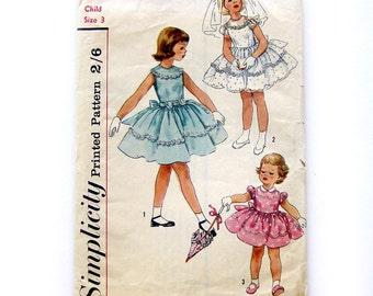 Girls Party Dress Flower Girl Dress / Vintage 1950s Sewing Pattern / Simplicity 1900 / Vintage Wedding / Size 3 UNCUT FF