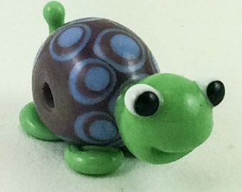 Purple and Blue Smiling Turtle Lampworked Glass Figurine Bead