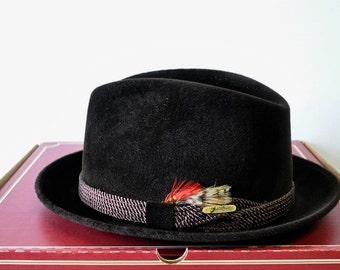Vintage Borsalino Grand Prix Paris chocolate brown fedora hat with feather embellishment