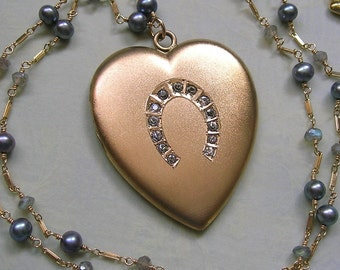 Antique Heart Locket With Horseshoe Wire Wrapped with Blue Pearls and Labradorite, Old Gold Filled Locket, Gift For Her (N246)