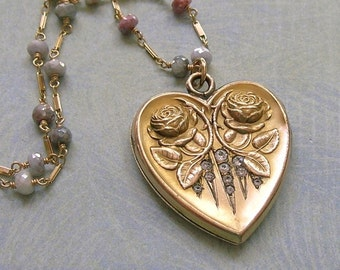 Antique Heart Locket Necklace With Roses and Paste Stones, Art Nouveau Locket, W&H Locket (N248)