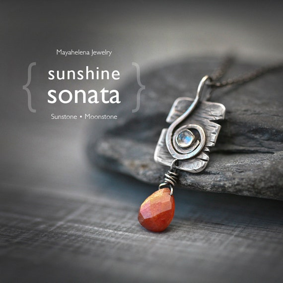 Sunshine Sonata - Textured Treble Clef Charm, Sunstone and Moonstone Wire Wrapped Sterling Silver Necklace