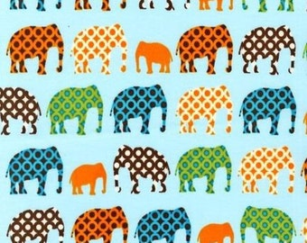 Robert Kaufman Blue Elephants Fabric Circus Act