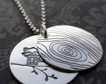 Hidden Raccoon Necklace in Sterling Silver - Custom Hand Stamped Woodgrain, Faux Bois Jewelry by EWD
