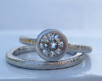 Diamond Pacific Ring wedding set 950 platinum and bezel set .60ct diamond engagement ring  with wedding band hammered textures