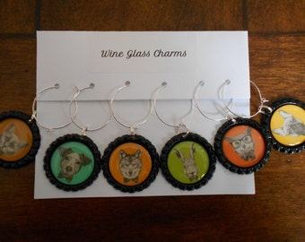Animal Faces set of Six (6) Decorative Wine Charms