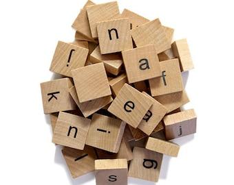 Wooden Lower Case Alphabet Tile Set -40 Count