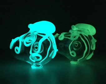 Glow Octopus Glass Churchwarden Pipe Hand Blown Thick Wall in YOU CHOOSE the GLOW, Made to Order