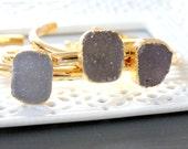SALE ~ Druzy bangle Gold Plated- Druzy stones - grey/light purple