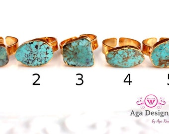 SALE ~ Druzy ring 24K Gold Plated- custom size - pick your design Turquoise stones