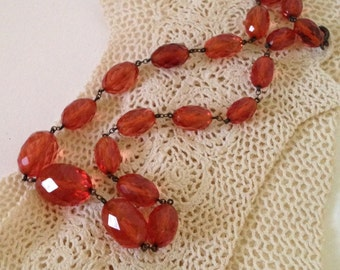 Gorgeous Vintage Baltic Amber Faceted Bead Necklace in Peach Tones on Sterling Silver Chain