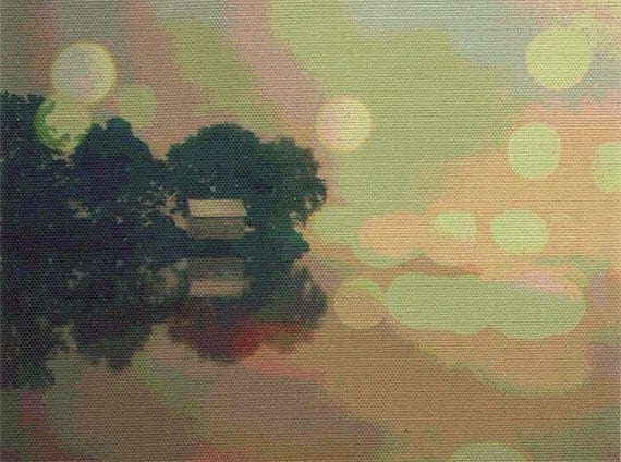 Digital print on canvas- Lil Boathouse- Orange+Green by Gretchen Kelly
