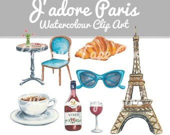 Travel Clip Art - Paris Clipart, France Clip Art, French Cafe, Digital Download, Wine, Coffee