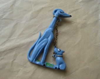 Dog Puppy Blue Brooch Plastic Chain Vintage Pin Gold