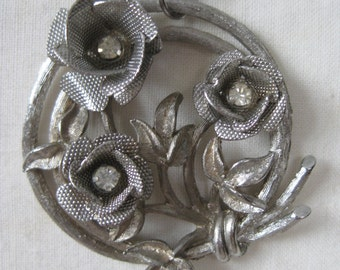Rose Flower Silver Necklace Rhinestone Vintage Pendant Clear