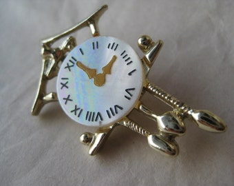 Cuckoo Clock Brooch Mother of Pearl Gold Yellow White Vintage Pin