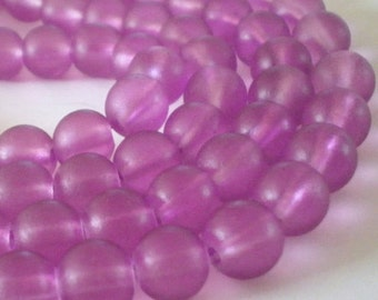 10mm Frosted Medium Pink Orchid Glass round beads - 20pcs