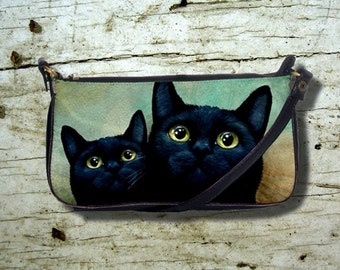 Small Clutch or Sling Bag Purse black Cat 607 green art painting L.Dumas