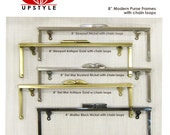 """Set of 5 - 8"""" Modern Purse Frames with chain loops by UPSTYLE - Ships from USA"""