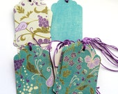 18  Gift Tags in Different Floral Designs, Purple Green Teal, Hang Tags, Party Favor Tags, Handmade