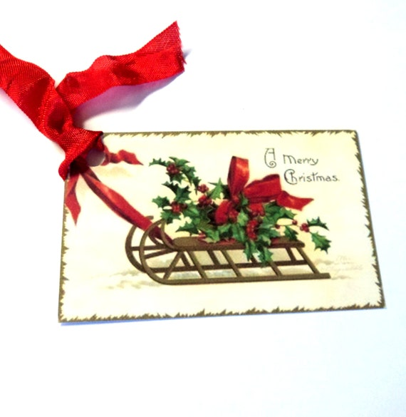 8 Christmas Gift Tags, Vintage Sleigh Holly & Bow, A Merry Christmas , Party Favor Tags