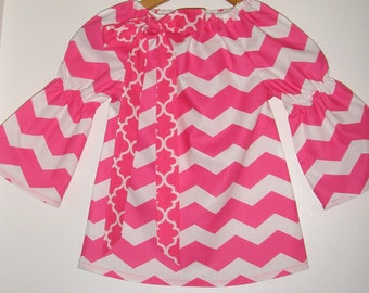 Top girls Hot Pink Chevron stripe  top long sleeves peasant top girls   (available in sizes 2t,3t,4t, 5t.,6, 7, 8 , 10
