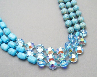 Vintage Multistrand Glass Crystal Necklace Earrings Jewelry Set N6930
