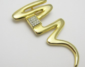 Large Rhinestone Pendant Modernist Brooch Park Lane Jewelry P7135