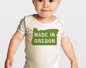 Made in Oregon -- Screenprinted Gender Neutral Organic Baby One-Piece