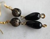 Black and Gold Earrings, Black Tear Drop Dangles, Vintage, Retro, Under 10