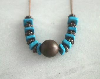 Antiqued Copper and Turquoise Necklace, Ceramic Beads, Mediterranean, Bohemian