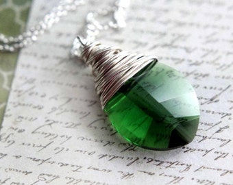 Green Crystal Pendant  Emerald Green  May Birthstone  Faceted Moss Green Leaf Shape Crystal  Sterling Silver Gift Box