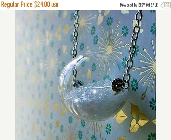 October Sale Snow Globe Pendant, Hollow Clear Glass Orb, Glitter Snow, Winter Keepsake, Gift for Her, Under 50