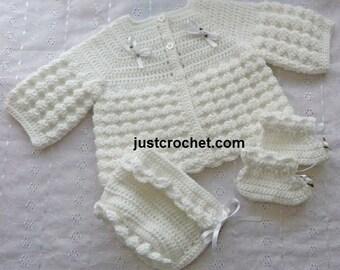 Coat, Bonnet and Booties Baby Crochet Pattern (DOWNLOAD) 102