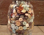 Large vintage barrel style glass pickle jar with lid- filled with buttons