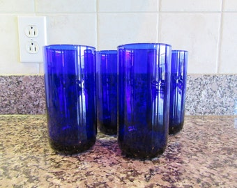 Set of 4 beautiful cobalt blue glass drinking glasses- Libby- solid, beautiful, weighty and functional