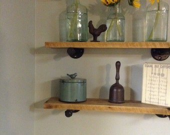 Industrial pipe and rustic hickory wall shelves set of 2 24x6