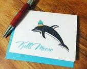 Winter Dolphin Stationery Cards - Personalized Folded Note Cards - Thank you Dolphin Cards - Winter Hat Thank You Notes