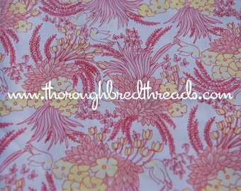 Sweet Birds - Vintage Fabric Novelty 60s 70s Floral Tulips Leaves Tropical Doves