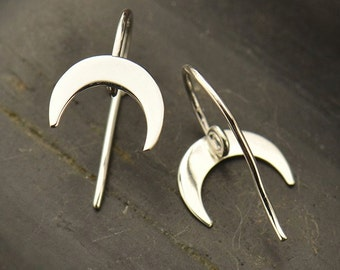 Sterling Silver Crescent Hook Earrings with Hidden Loop - Solid 925 - Insurance Included