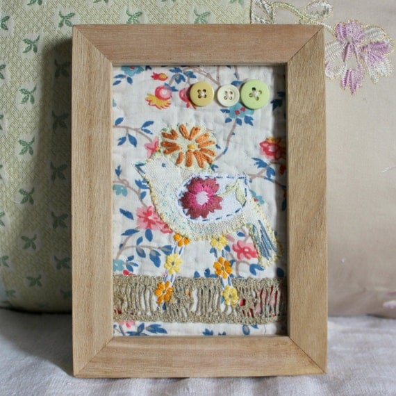 Wall Decor Fabrics : Wall decor antique fabrics with sweet bird by roxycreations