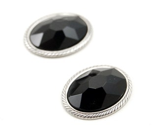 Set of 2 Black Czech Glass Faceted Cabochons with Rope Border Settings in Antiqued Silver - 18x13mm