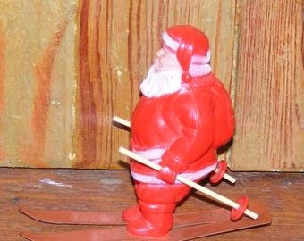 Vintage Mid Century Red Irwin USA Celluloid Santa Claus on Tin Metal Ski Skis