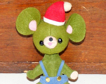 SALE Vintage Wool Felt Big Ears Green Mouse in Santa Hat Ornament marked Japan