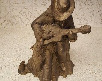 Garden Statue Ceramic Statue Guitar Playing Cowboy Bronze Colored