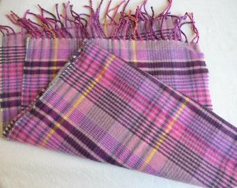 Scotland Cashmere Scarf, Winter scarf, pinks, mauve, gray, tan plaid